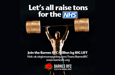 Barnes RFC to lift 1 Million Kgs on 2nd May for Garry Garrett and the NHS