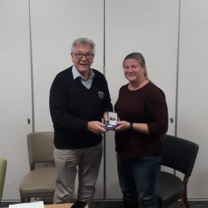 Louise Latter receives her well deserved President Medal for 2021